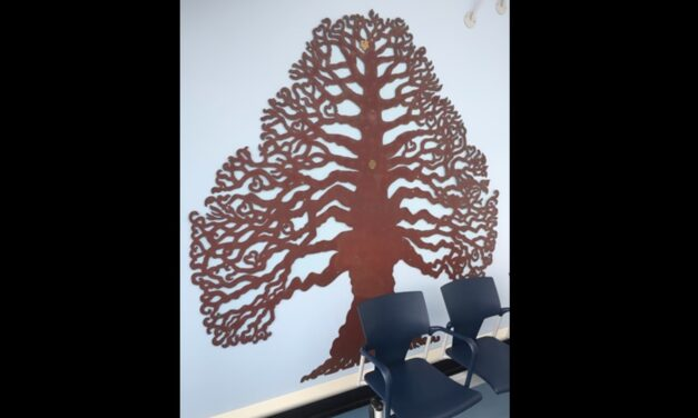 Leaf marking £1m donation placed on hospital Celebratory Tree